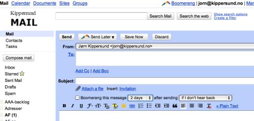 Boomerang ved sending av e-post
